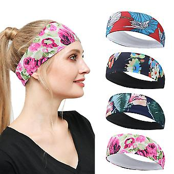 4pcs Knitted Printing Non Slip Yoga Sports Headband Moisture Wicking Fitness Hair Band