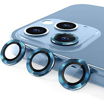 Aluminum Alloy Lens Protective Cover,camera Lens Protective Film Specially Designed For Iphone 11/12mini/12, Tempered Glass Film,  Sea Blue3 Pack