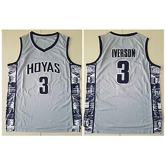 Miesten Georgetown Collegiate Athletic #3 Iverson Retro kirjailtu Koripallo Jersey Koko S-xxl