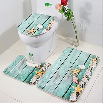 3-delige set antislip mat voor huishoudelijke badkamer zeester toiletmat (stijl 1)
