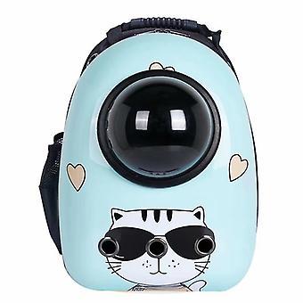 Light Blue Glasses Cat Portable Pet Backpack