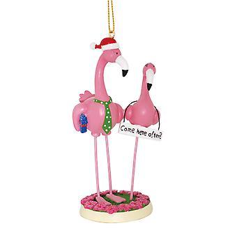 Pojke möter flicka rosa Flamingos kommer hit ofta rolig jul semester prydnad