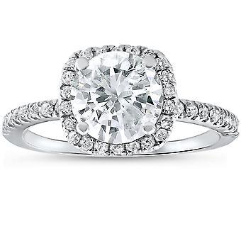 2 1/2 cttw diamant inel de logodnă pernă Halo runda cut 14K White Gold