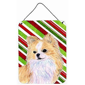 Chihuahua tikkukaramelli Holiday joulua metalli seinän tai ovi roikkuu tulosteita