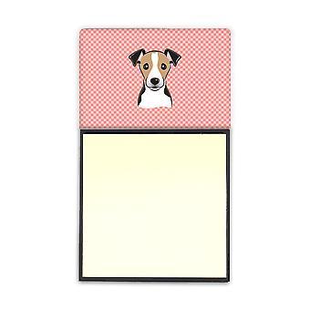 Checkerboard Pink jackrusselinterrieri Refiillable tarralapulle haltija tai Postit