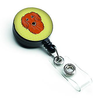 Checkerboard Lime Green Longhair Red Dachshund Retractable Badge Reel