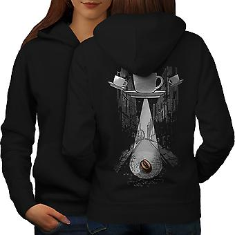 Coffee Cup Being Fantasy Women BlackHoodie Back | Wellcoda