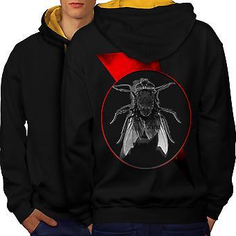 Lentää Bug hyönteinen eläinten miesten musta (Gold Hood) kontrasti huppari takaisin | Wellcoda