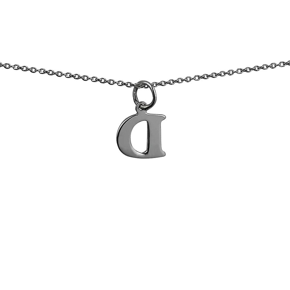 Silver 12x10mm plain Initial D Pendant with rolo Chain 24 inches