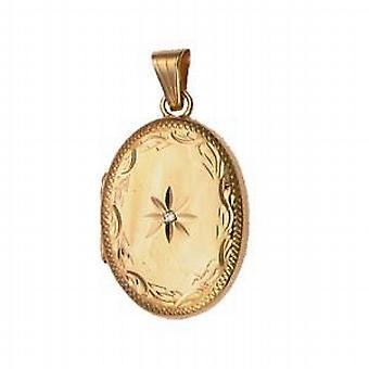 9kt guld 27x20mm diamant sat hånd graveret kant oval medaljon