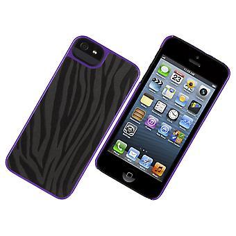 Griffin Moxy Zebra Print Hard Shell Case for Apple iPhone 5 - Black/Purple