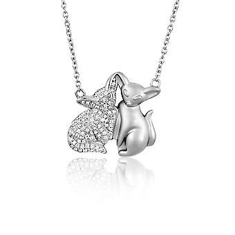 Silver Fox Woman halssmykke utsmykket med 90 White zirconia Swarovski krystaller