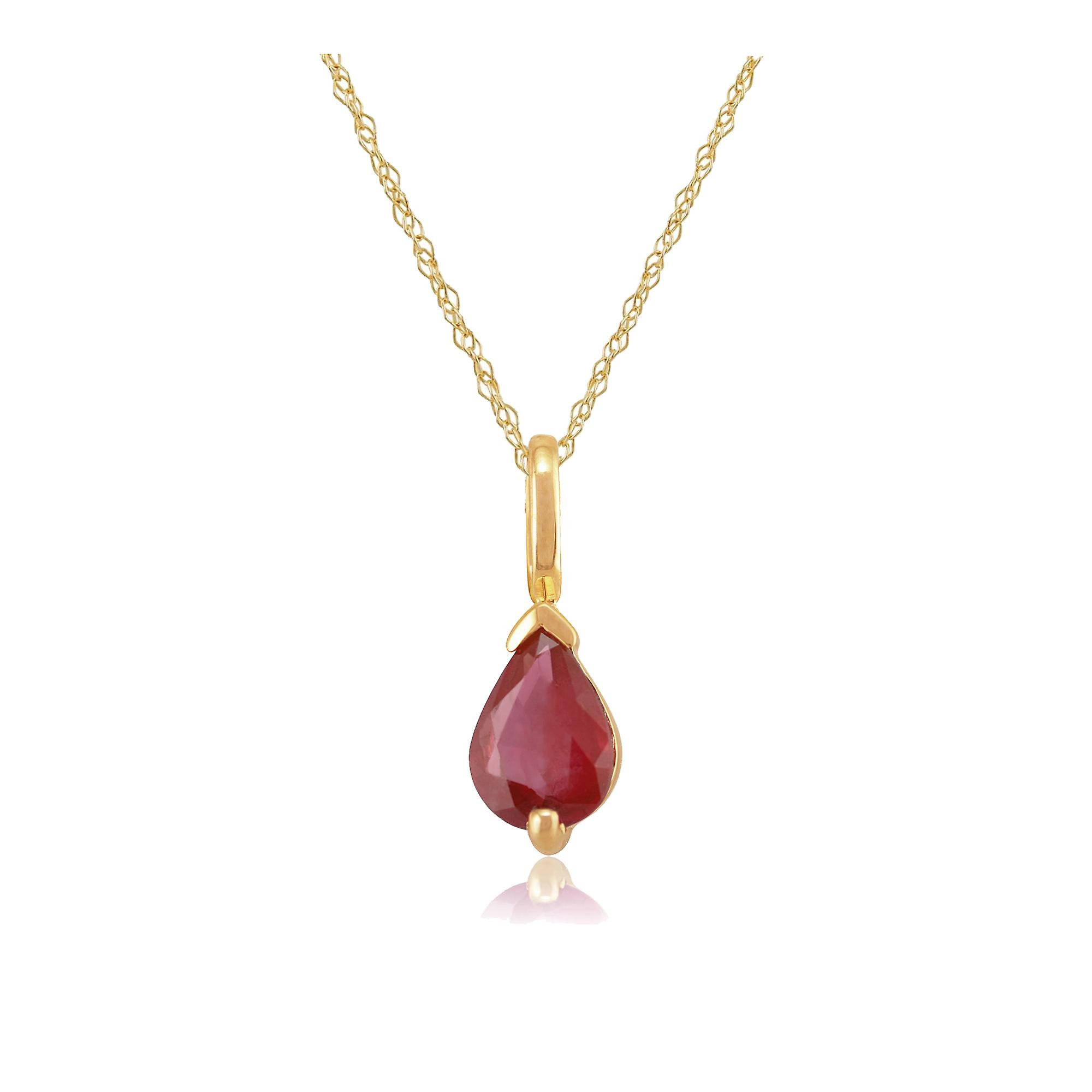 9ct Yellow Gold 0.72ct Ruby Single Stone Pendant on Chain