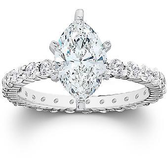 2 1 / 2ct Marquise verbessert Diamond Engagement Ewigkeit Ring 14K Weissgold