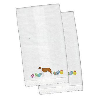 Saint Bernard Easter White Embroidered Plush Hand Towel Set of 2