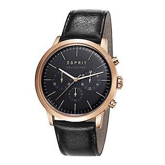 Esprit Collection Herren Uhr Armbanduhr Chrono Soter Rosé Leder EL102191004