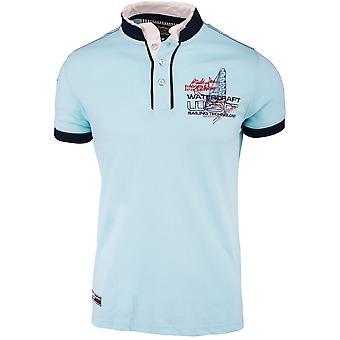Mens Kortärmad Poloshirten hög krage T-shirt skjorta vattenskotrar blå vit