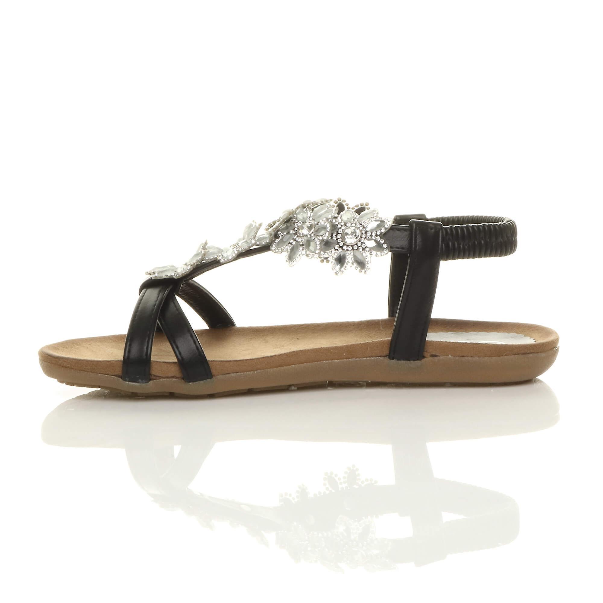 Ajvani womens plat rembourré confort en forme de t boucle fleur diamante sandales