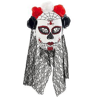 Naamio Meksikon kuollut päivä puoli mask verhon kukkia undead Horroebraut
