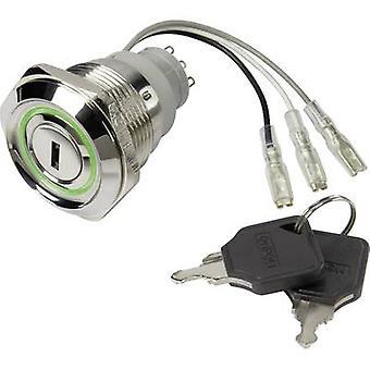 TRU COMPONENTS LAS1-AGQ30-11Y/21/R-G/12V Key switch 250 V AC 5 A 1 x Off/On 1 pc(s)