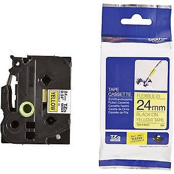 Merking tape (fleksibel) bror TZe-FX, TZ-FX TZe-FX651 Tape farge: gul skrift farge: svart 24 mm 8 m