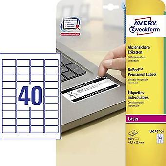 Avery-Zweckform L6145-20 Labels 45.7 x 25.4 mm Polyester film White 800 pc(s) Permanent Safety stickers, All-purpose labels Laser