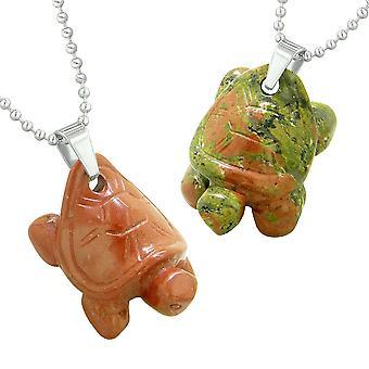 Lucky Charms Schildkröten lieben Paare oder beste Freunde setzen Heilung Amulette Unakite Red Jasper Halsketten