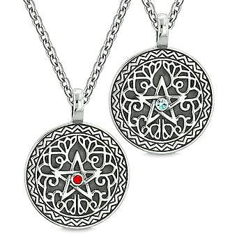 Pentagramm magische Starpower keltische Amulette liebe paar Beste Freunde himmelblau rote Kristalle Halsketten