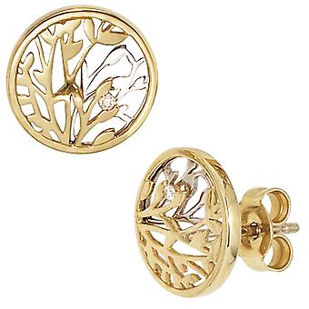 Studs 585 gold yellow gold white gold combines 2 diamonds brilliant earrings gold