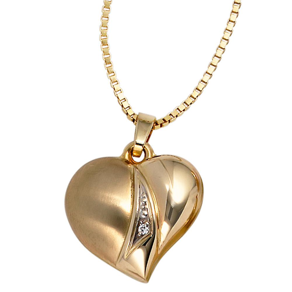 Anhänger Herz 333 Gold Gelbgold teilrhodiniert teilmattiert 1 Zirkonia