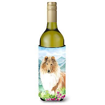 الزهور الجبلية على نحو سلس كولي زجاجة النبيذ المشروبات عازل نعالها