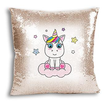 i-Tronixs - Unicorn Printed Design Champagne Sequin Cushion / Pillow Cover for Home Decor - 8