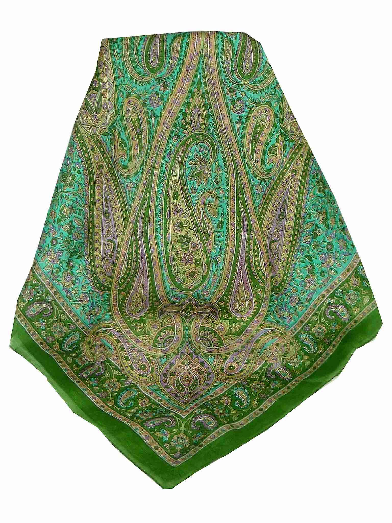 Mulberry Silk Traditional Square Scarf Mithi Sage by Pashmina & Silk
