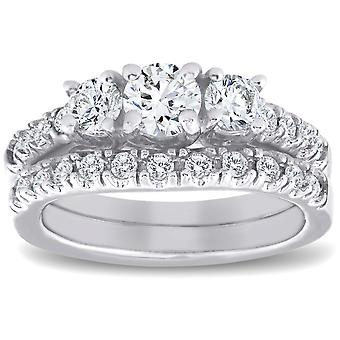 1 1/2 ct 3-Stone Diamond Engagement Ring Matching Wedding Band Set White Gold