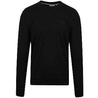 Antony Morato Black Plaque Logo Crew Neck Sweatshirt