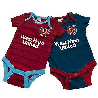 West Ham United FC Baby BL Bodysuit (Pack Of 2)