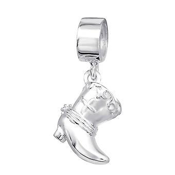 Cowboy-Stiefel - 925 Sterling Silber Plain Beads - W11172X