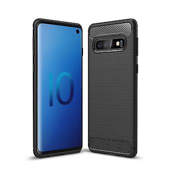 Samsung Galaxy S10 Carbon Fiber textuur shell-zwart