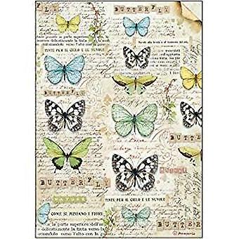 Feuille de papier de riz Stamperia A4-Butterfly