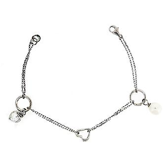 Bracelet Hearts And Circles 925 Silver Pearl And Zirconium