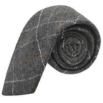 Erfgoed Check houtskool grijs Tie, Tweed, Mens stropdas