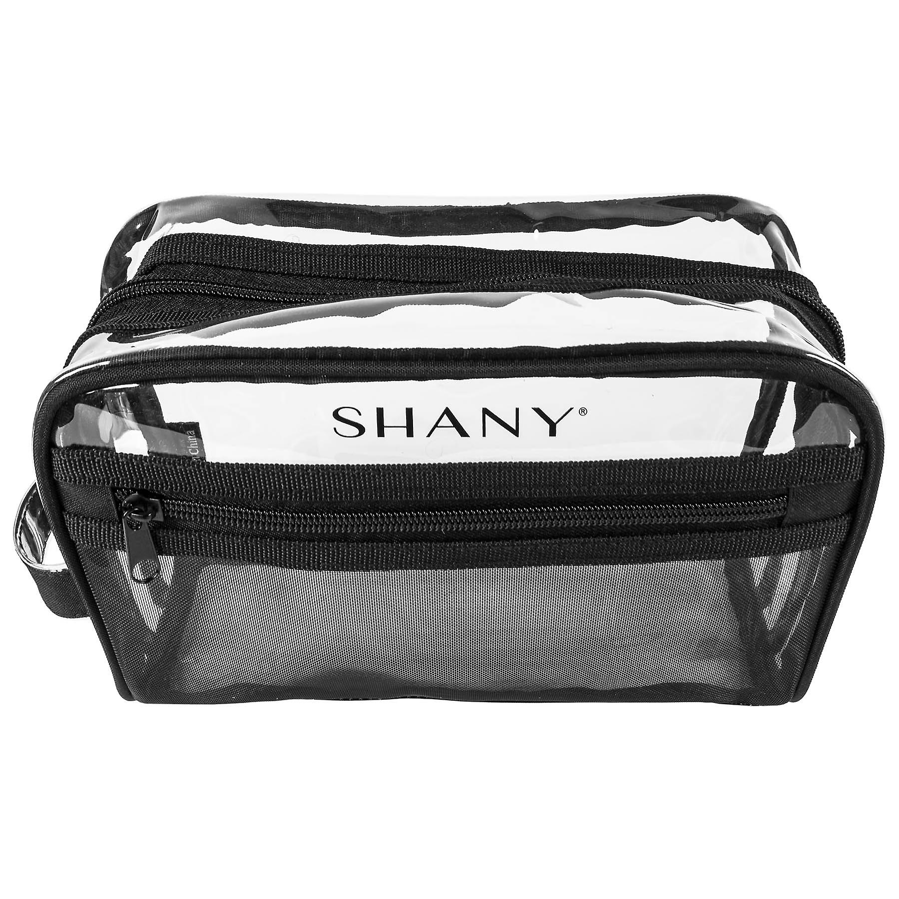 SHANY Clear Toiletry and Makeup Bag with Plastic Mesh Pocket - Medium Nontoxic Travel Organizer with Handle - Black Mesh