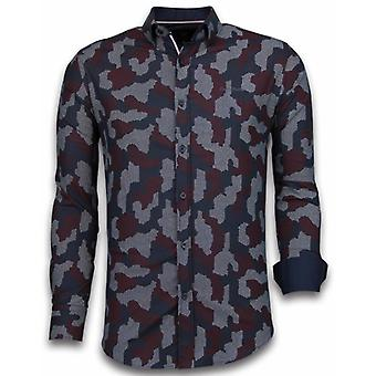 E Shirts - Slim Fit - Dotted Camouflage Pattern - Black