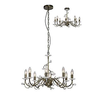Diyas Willow Pendant Without Shade 8 Light Antique Brass/Crystal