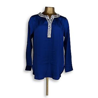 Bob Mackie Women's Top Embellished Split V-neck Roll Tab Blue A265727