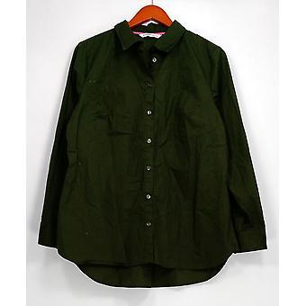 Isaac Mizrahi Live! Top Long Sleeve Button Front Green A281348
