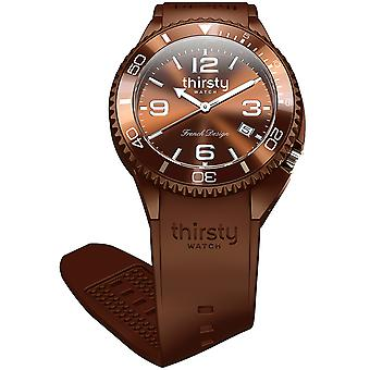 Thirsty chestnut unisex Watch for Unisex Analog Japanese Quartz with Silicone Bracelet BO-CHESTN