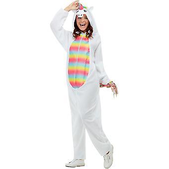 Kapüşonlu Tulumlu Tek boynuzlu At Kostümü Beyaz