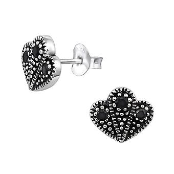 Bali Cactus - 925 Sterling Silver Cubic Zirconia Ear Studs - W30086X