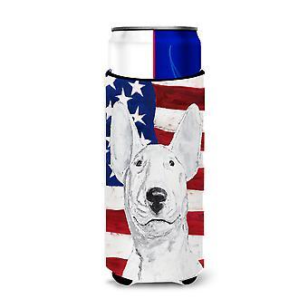 Bull Terrier EUA bandeira americana ultra bebidas isoladores para latas Slim